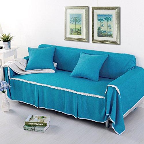 RUGAI-UE Sofa Slipcover Single double fabric living room sofa cover all sofa cloth round full color,Double seat 215x260cm,FM blue