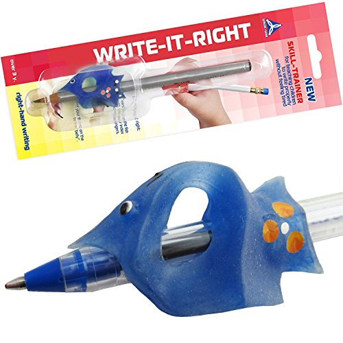 Pencil Grip for Kids with Small Hands - Control The Angle of Fingers - Write-IT-Right Blue Moon Fish Tripod Writing Claw (4783) -