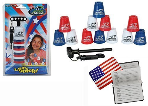 Speed Stacks MINI Play Set of 12 Ultra Portable Cups MINIS with FREE Bonus: US Flag Design Magnetic Credit Card Size Address Book …