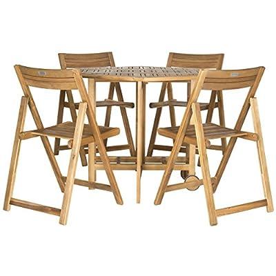 Safavieh Outdoor Living Collection Kerman 5-Piece Dining Set, Teak Brown