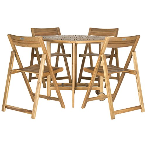 Safavieh Outdoor Living Collection Kerman 5-Piece Dining Set, Teak Brown