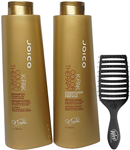 Joico K-Pak Color Therapy Shampoo & Conditioner DUO - to preserve color & repair damage (with Wet Brush Pro Epic Professional Quick Dry Brush) (33.8 oz/1000ml Large Liter - BUNDLE KIT -