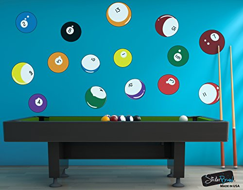 15 Billiard Balls Wall Decal Stickers Printed Graphic Game Room Decor Vinyl Wall Art. By Stickerbrand.(Range from 8in x 8in to 11in x 11in in size) #OS_MB130A. Easy to Apply & Removable.