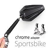 KiWAV Magazi Achilles motorcycle mirrors black fairing mount w/ chrome adapter for sports bike adjustable e