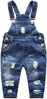 Kidscool Baby Boys/Girls Stone Washed Ripped Soft Denim Overalls
