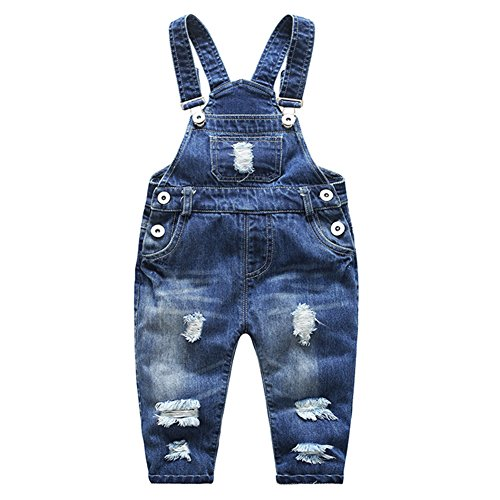 Kidscool Baby & Little Boys/girls Stone Washed Ripped Soft Denim Overalls, Blue, 6 - 12 Months - Blue Baby Overall