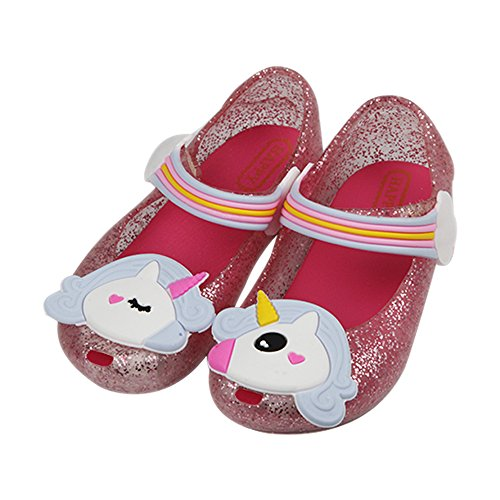 iFANS Girls Cute Shiny Unicorn Mary Jane Princess Flat for Toddler Little Kid Red -