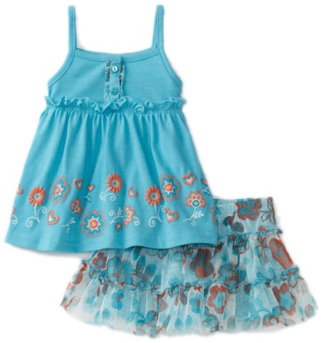 Nannette Baby Girls' 2 Piece Floral Skooter Set, Turquoise, 24 Months