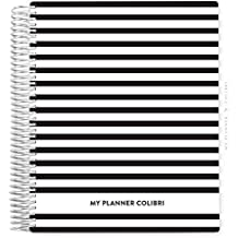 My Planner Colibri Navy Striped B&W - 12 MESES - Sem Data - Layout Mensal, Semanal, com Financeiro e Habit Tracker