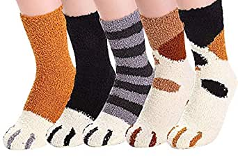5 Pairs Women's Fun Socks Cute Cat Animals Funny Funky Novelty Cotton Gift (One Size, A)