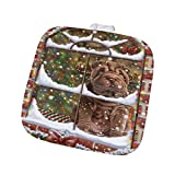 Please Come Home For Christmas Shar Pei Dog Sitting In Window Pot Holder POT48417