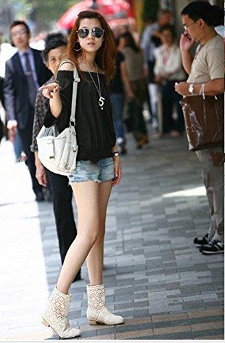 Tobillo Minetom Sandalias Verano Cuña Toe Platform Respirable Boots Otoño Mujer Redonda Blanco de Zapatos Hueco Botas Encaje 0SwwqFU