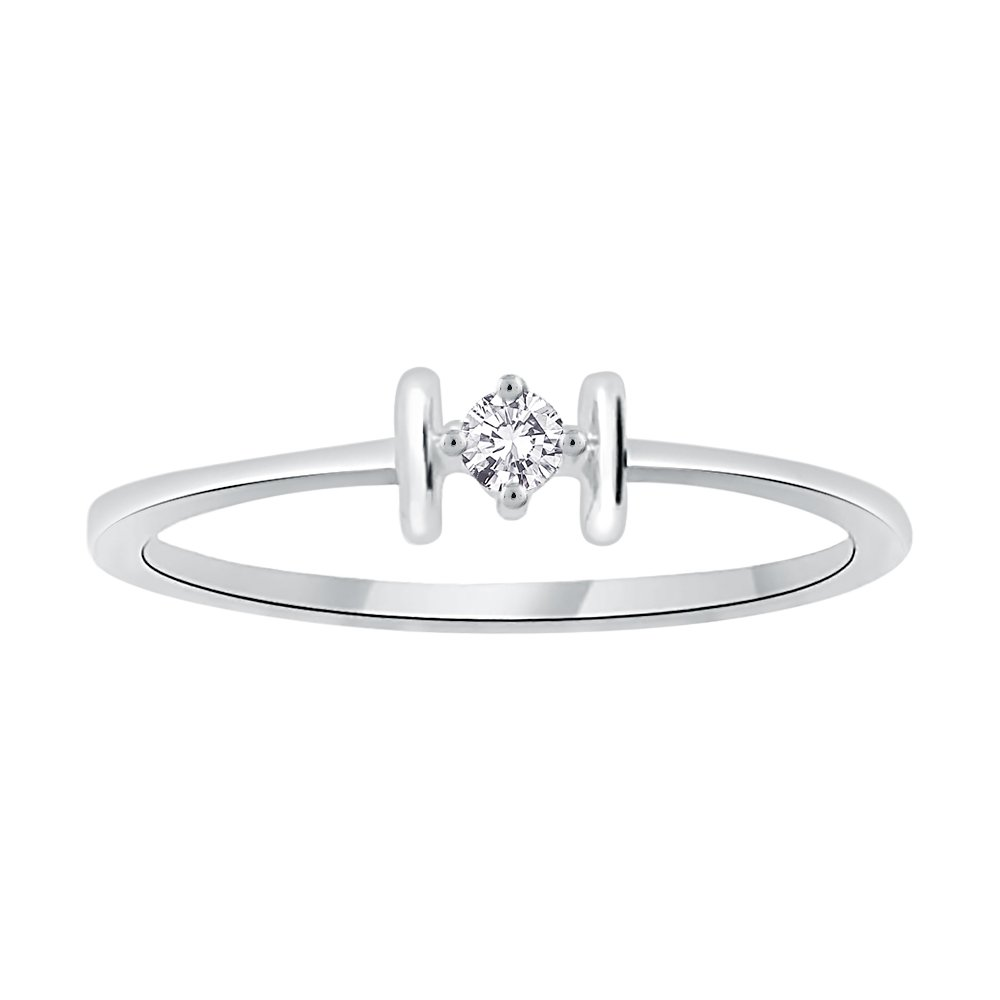 Diamond Promise Ring in Sterling Silver (1/20 cttw) (I-Color, SI3--I1 Clarity) (Size-8.75)