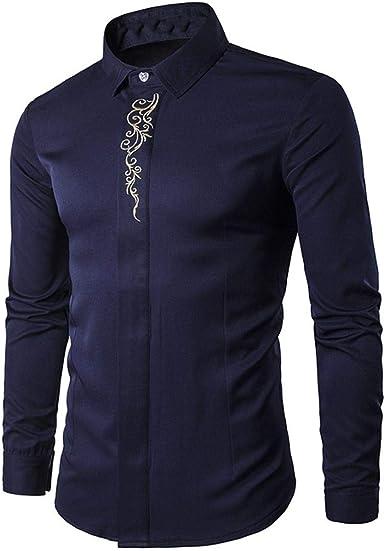Camisetas de Bordado Hipster para Hombre Camisetas de Manga Larga ...