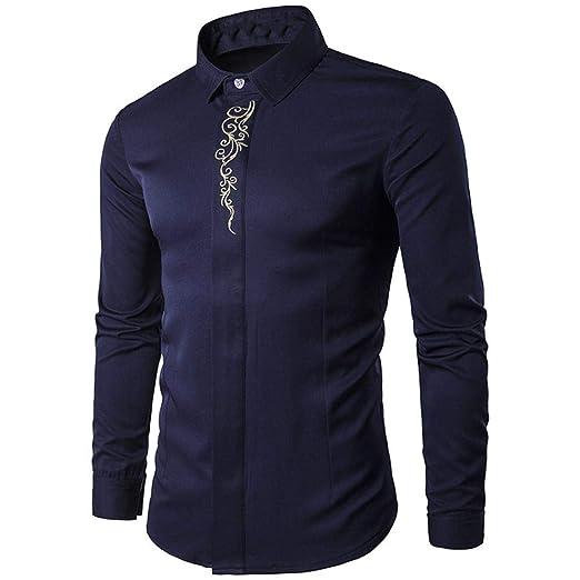 Camisetas de Bordado Hipster para Hombre Camisetas de Manga Larga de Manga Larga Casual Camisas de Corte Slim Blusa de Bordado de Moda Avanzada ¡Top, ...