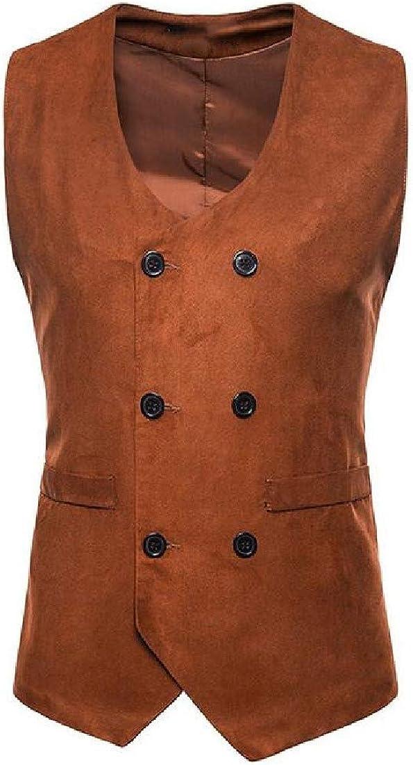 Abetteric Mens Velvet Pure Color Blazer Stylish Double-Breasted Suit Vest