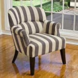 Christopher Knight Home 238483 Amelie Slate Stripe Fabric Club Chair, Blue and White Stripe