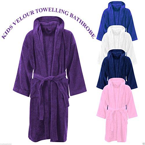 5634e7ea89 Kids Boys Girls Bathrobe 100% Egyptian Cotton Luxury Velour Towelling  Hooded Dressing Gown Soft Fine Comfortable Nightwear Terry Towel Bath Robe  Lounge Wear ...
