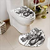 vanfan Non-slip Bath Toilet Mat Skull of the Dead Catholic Butterfly Rose Flower Holi Culture Soft Non-Slip Water