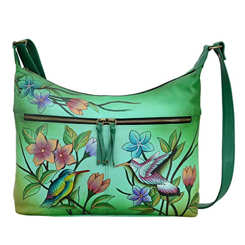 Anna by Anuschka Leather Hobo Shoulder Hand Painted Handbag & Purse Holder Bundle (Birds in Paradise Green Large w Twin - Pocket Handbag Twin Hobo