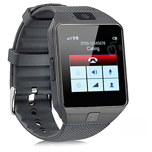 (Pandaoo Smart Watch Mobile Phone Unlocked Universal GSM Bluetooth 4.0 Music Player Camera Calendar Stopwatch Sync with Android Smartphones(Black))