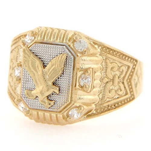 10k Two Tone Gold Eagle CZ Fancy Mens Ring Jewelry