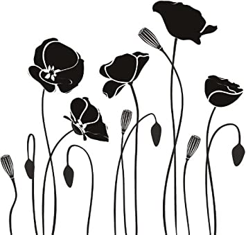Row of poppies poppy flowers wall stickers wall art decal 02 vinyl sticker wall art