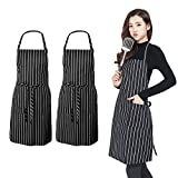 PrettyWit 2 Pack Apron with 2 Pockets, Suitable for Cooking Housework BBQ, for Men Women Chef, Black