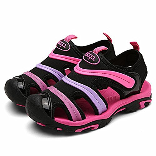 MENTAIQI Sport Anti-Slipping Kids'Sandals Closed-Toe, Breathable Quick-Drying Athletic Slipper Slip-On Shoes for Boys & Girls (Toddler/Little Kid/Big Kid) (9.5 M, Rose)