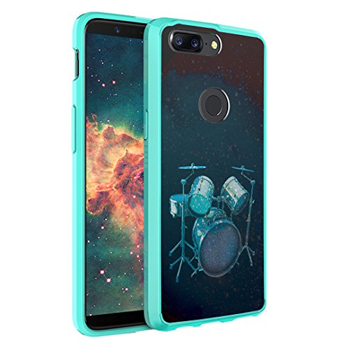 OnePlus 5T Case, Capsule-Case Hybrid Slim Hard Back Shield Case with Fused TPU Edge Bumper (Teal Mint Green) for OnePlus 5T - (Drums)