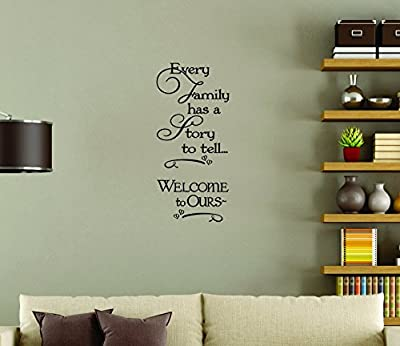 """Wall Decor Plus More Every Family Has A Story To Tell.Wall Vinyl Sticker Decal Quote 11""""W x 23""""H - Black Black"""