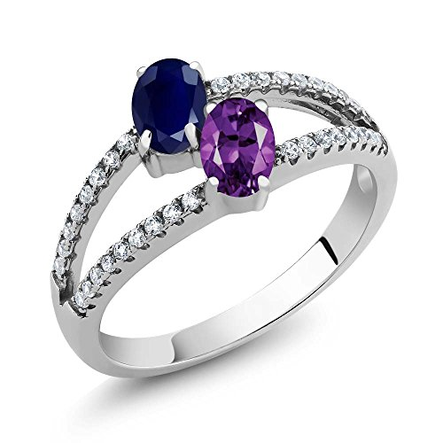 1.31 Ct Oval Blue Sapphire Purple Amethyst Two Stone 925 Sterling Silver Ring (Ring For Women Sapphire Purple)