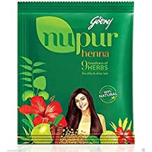 Godrej Nupur Henna Natural Mehndi for Hair Color with Goodness of 9 Herbs With Free 3 Neha Henna Cones js (pack of 3)