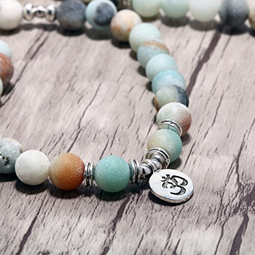 Zhepin 8MM Amazonite 108 Mala Beads Charm Bracelet for Men Women Yoga Bracelet Necklace by Zhepin (Image #3)