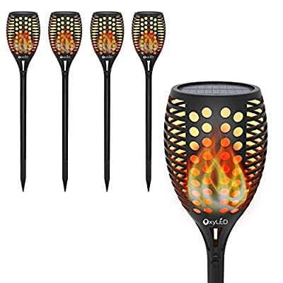 OxyLED Solar Torch Lights, Garden Pathway Light with Realistic Dancing Flames, Waterproof Landscape Lighting with Auto On/Off Dusk to Dawn for Halloween Christmas Lights Decorations