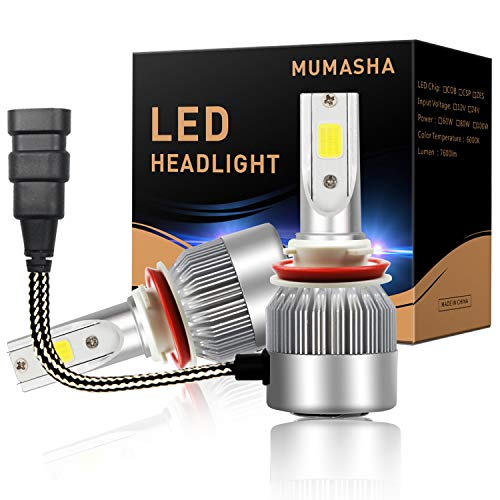 , 6000K Bright White 7200Lm Compact LED Headlight Bulbs H11 All-in-One COB Direct Replacement Kit H9, H8