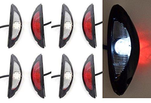 8 x LED contorno lato verticale Marker Lights 12 V 24 V e-contrassegnato rosso bianco per SUV Offroad camion camper e caravan Chassis YP73