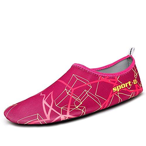 Mayzero Mannen Vrouwen Water Schoenen Blootsvoets Huid Schoenen Sneldrogende Aqua Sokken Schoenen Voor Strand Zwembad Zwemmen Surfen Varen Yoga Rose Rood 1