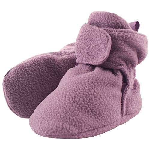 Luvable Friends Baby Cozy Fleece Booties, Solid Lilac, 6-12 Months