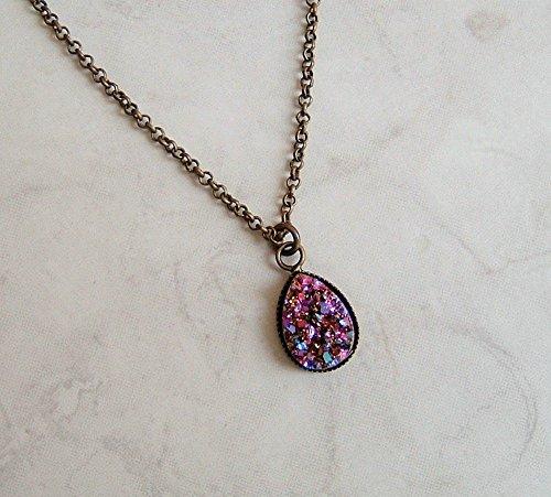 Multi Purple Blue Metallic Drop Simulated Druzy Quartz Pendant 18 Inch Necklace Gift Idea ()