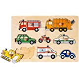 Goki 57996 8pc(s) puzzle - Puzzles (Shape puzzle, Vehicles, Toddler, 1 year(s), Wood, 300 mm)