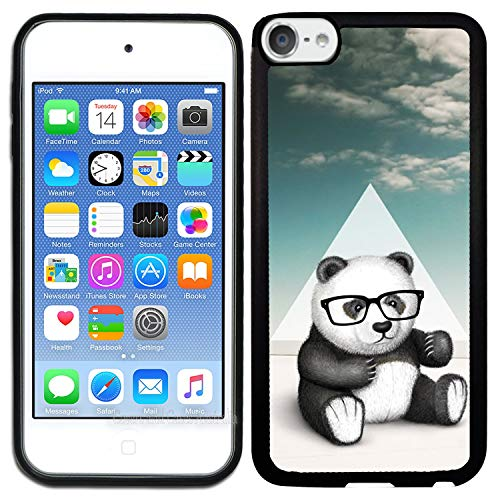 [TeleSkins] - Rubber TPU Case for iPod Touch 5 / iPod Touch 6 - Hipster Baby Panda Geek Glass - Ultra Durable Slim Fit, Protective Plastic with Soft Rubber TPU Snap On Back Case/Cover.