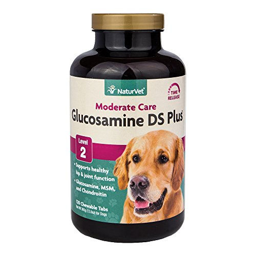 NaturVet - Glucosamine DS Plus - Level 2 Moderate Care | Supports Healthy Hip & Joint Function | Enhanced with Glucosamine, MSM & Chondroitin | for Dogs & Cats | 120 Chewable Tablets