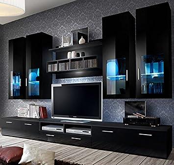 muebles bonitos mueble de salon modelo acosta color con negro 3 m - Muebles Bonitos