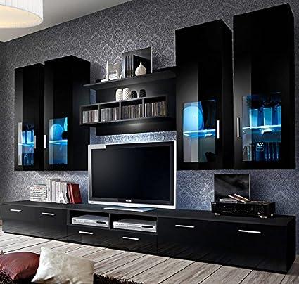 muebles bonitos Mueble de Salon Modelo Acosta Color con Negro 3 m