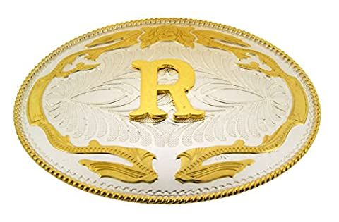 Initial Letter R Western Cowboy Rodeo Silver Gold Costume Halloween Belt Buckle (Hebillas De Rodeo)