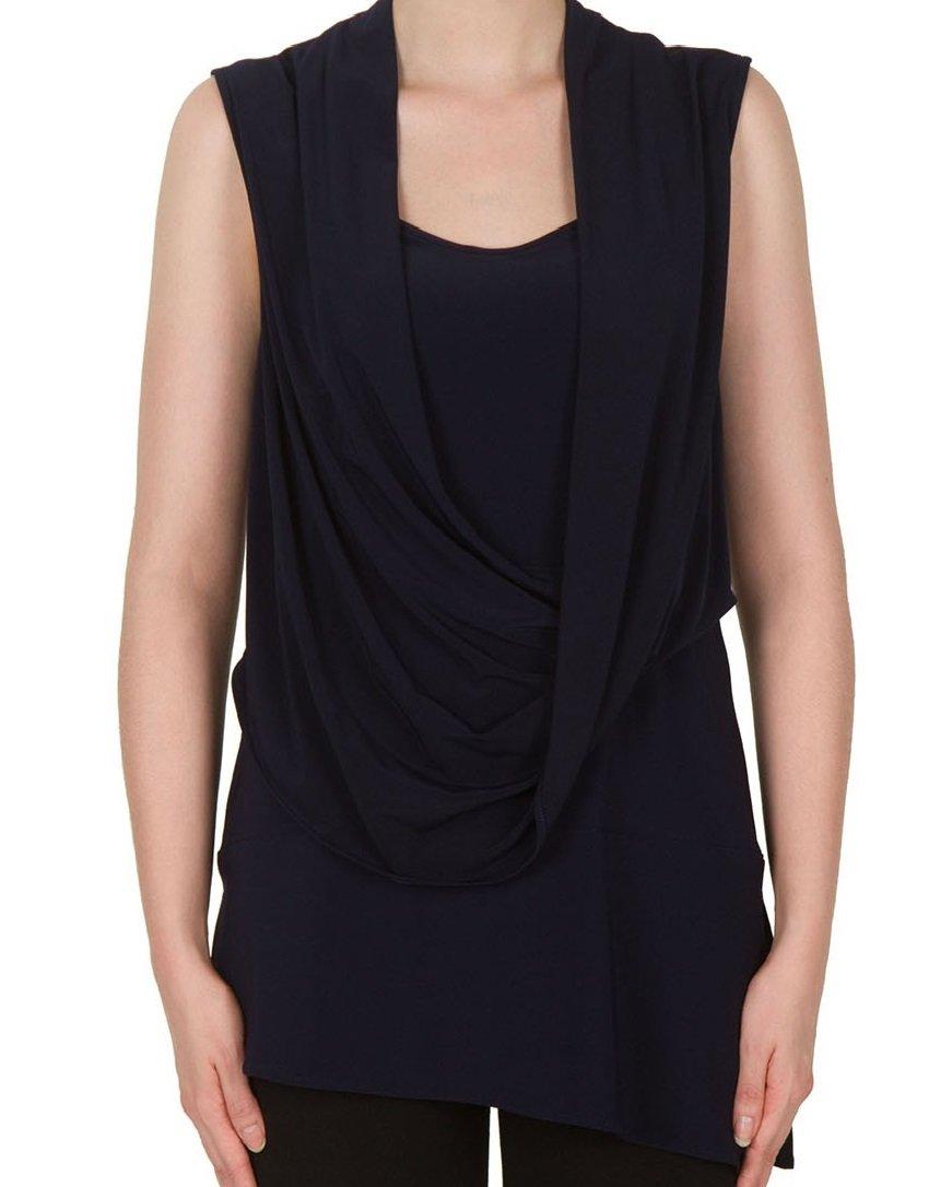 Joseph Ribkoff Drape Neck Midnight Blue Sleeveless Tunic Style 172063 Size 16 by Joseph Ribkoff