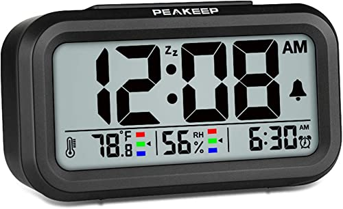 Peakeep Indoor Humidity Temperature Digital Alarm Clock for Bedrooms, Smart Night Light, Battery Operated Small Easy Desk Bedside Gifts Clock Black