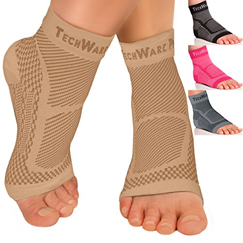 TechWare Pro Ankle Brace Compression Sleeve – Relieves Achilles Tendonitis, Joint Ache. Plantar Fasciitis Foot Sock with Arch Support Reduces Swelling & Heel Spur Ache. Injury Recovery for Sports – DiZiSports Store
