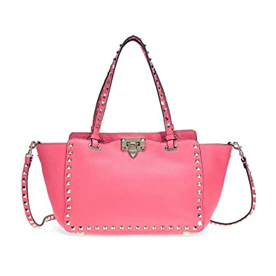 09fe9c8e835b Amazon.com  Valentino Rockstud Small Leather Tote - Bright Pink  Shoes